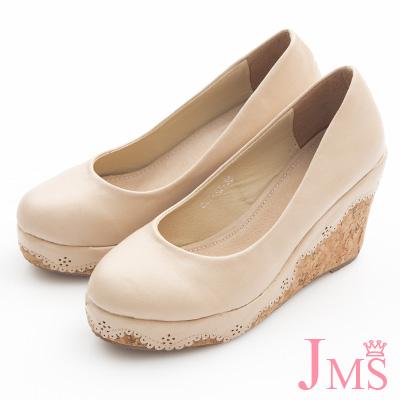 JMS-典雅素面花滾邊楔型娃娃鞋-杏色