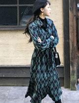 日系菱格綁帶長袖洋裝