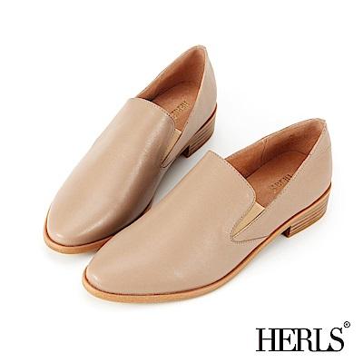 HERLS 品味生活 全真皮素面橢圓頭樂福鞋-奶茶色
