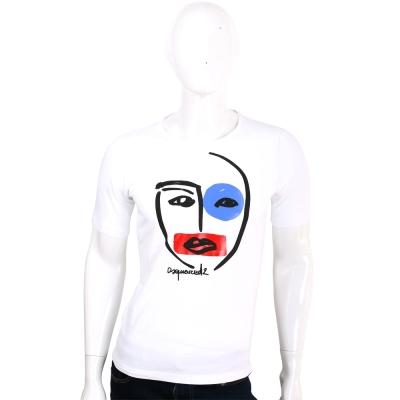 Dsquared2 白色臉譜插畫棉質短袖T恤
