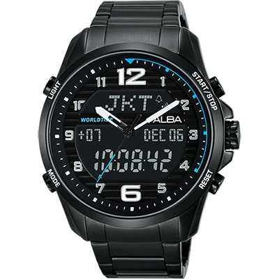 ALBA 雅柏 W兩個世界雙顯腕錶(AZ4023X1)-黑/44mm