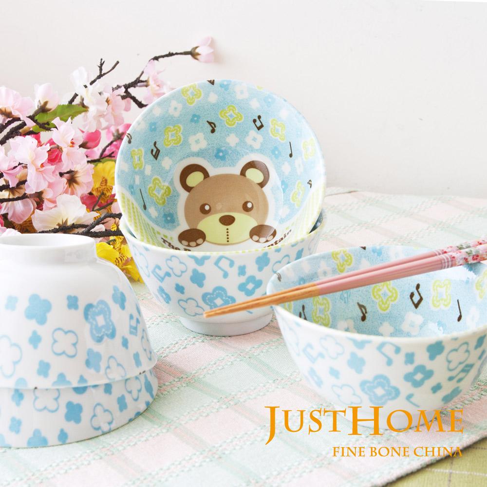 Just Home 日本製音樂熊陶瓷5吋大飯碗5件組
