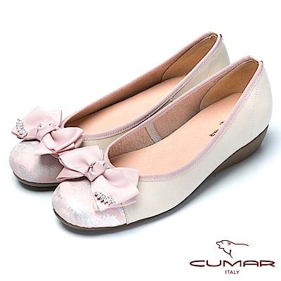 CUMAR舒適真皮緞帶蝴蝶結真皮舒適鞋-粉膚