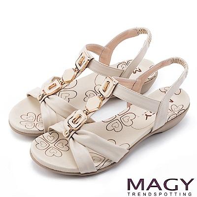 MAGY 異國渡假必備 寶石T字踝帶低跟涼鞋-米色