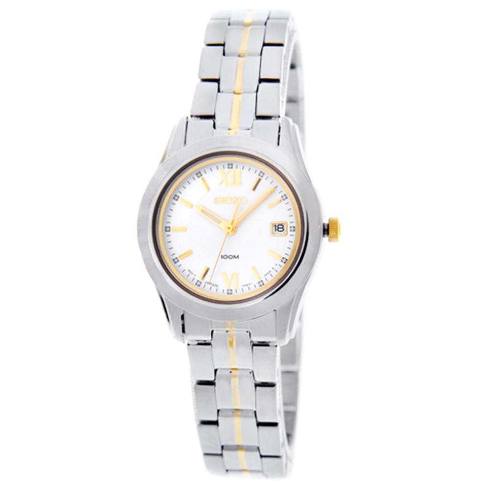 SEIKO 時尚百米石英半金腕錶(SXDC65P1)-白/26mm