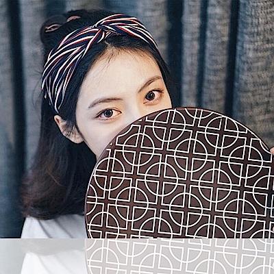 梨花HaNA 韓國小文青風格藍紅米直條紋交叉髮帶