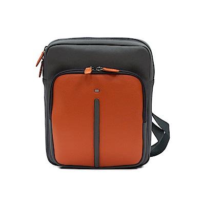 FEDON 1919 Web 時尚雙色皮革尼龍側背包-橘深灰