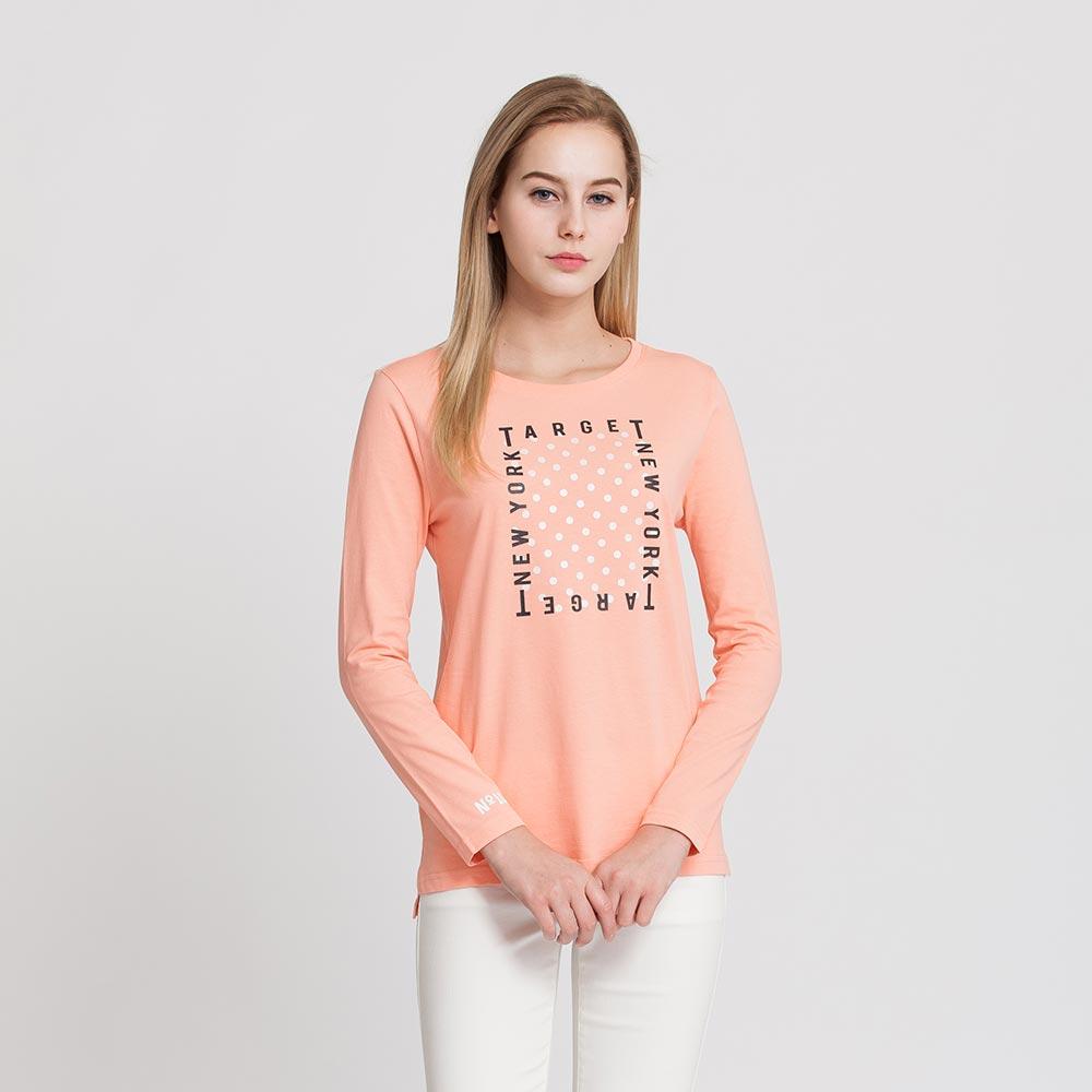 Hang Ten - 女裝 - 有機棉 TARGET圖章T恤 - 粉