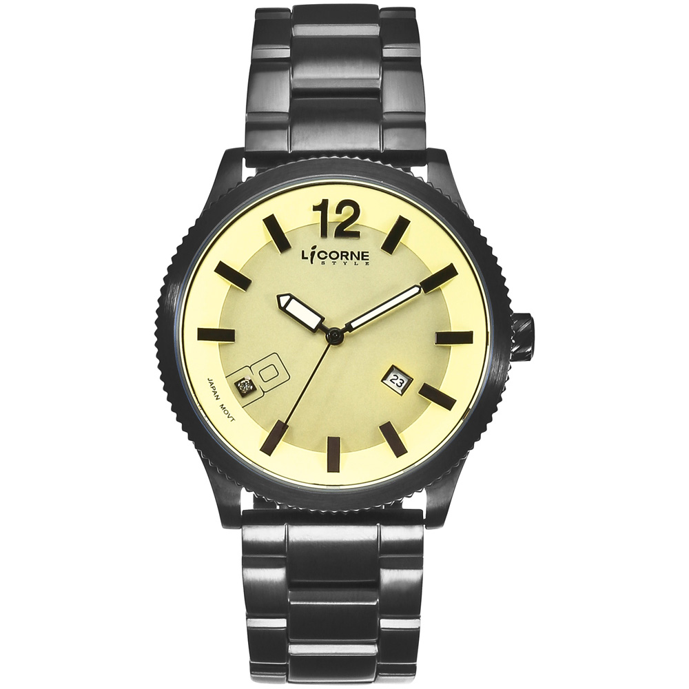 LICORNE MARCON馬卡龍系列時尚腕錶-黃x黑/42mm