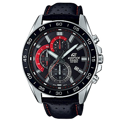EDIFICE都會城市沉穩風格計時概念皮帶指針錶(EFV-550L-1)黑/47mm