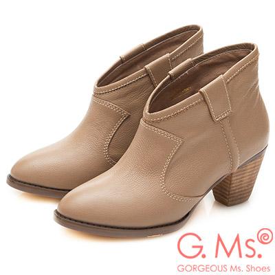 G.Ms. 全真皮簡約尖頭V口粗跟踝靴-可可