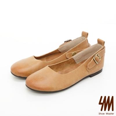 SM-手工全真皮-擦色漸層平底樂福鞋-卡其棕色