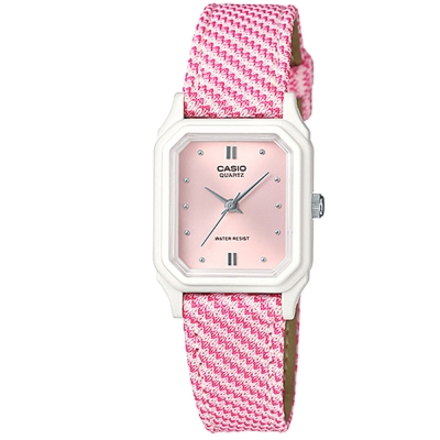 CASIO 復古格鳥紋時尚風指針腕錶(LQ-142LB-4A2)-粉紅面/22.5mm