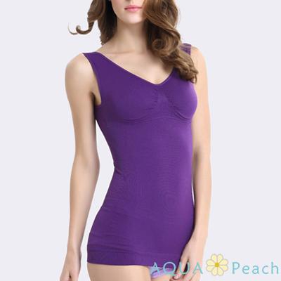 素面抓皺無痕塑身衣背心 (紫色)-AQUA Peach