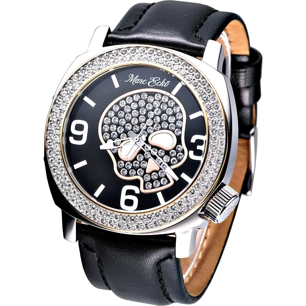 MARC ECKO 嘻皮龐克晶鑽骷髏時尚腕錶-黑/46mm