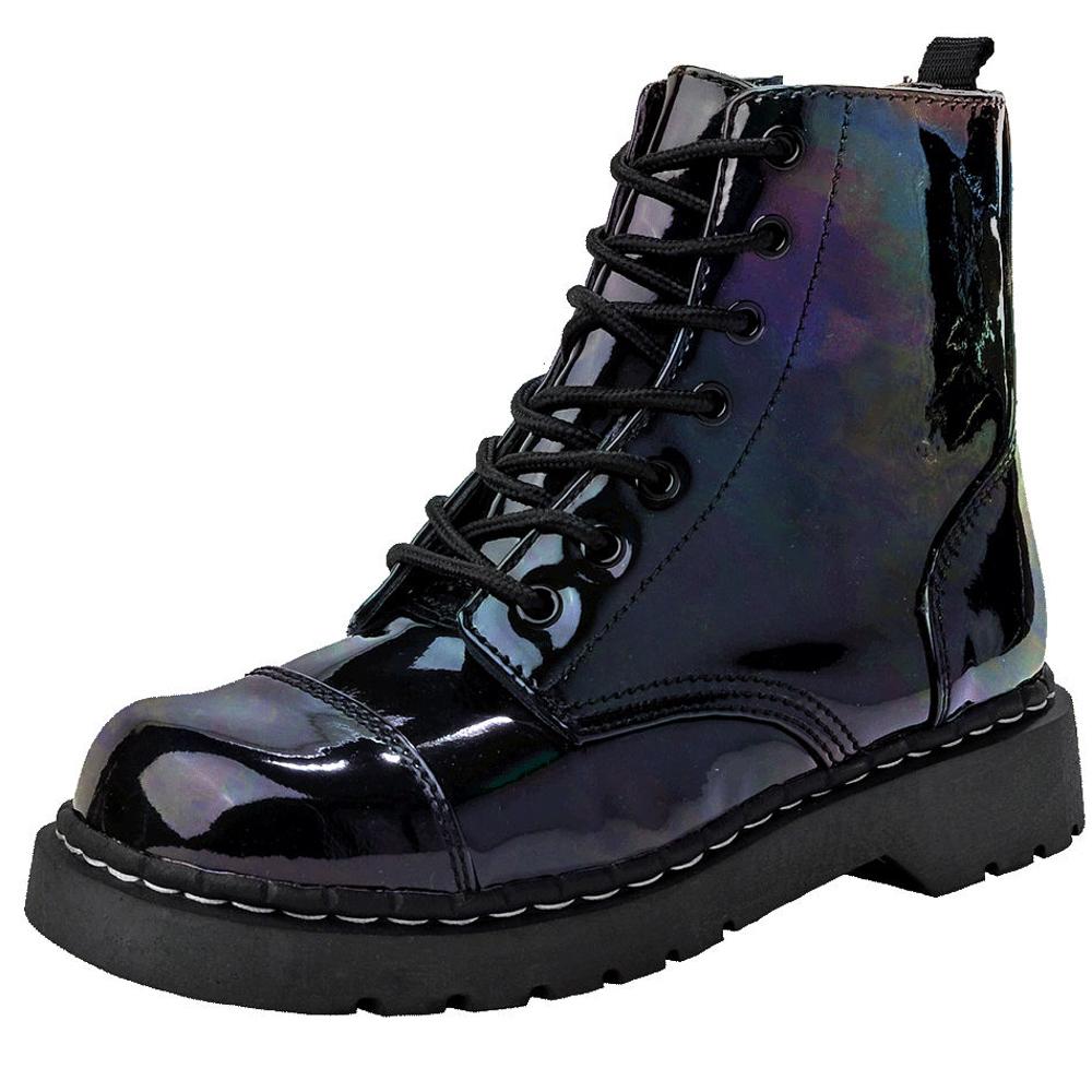 TUK 經典7孔金屬虹彩軍靴-黑