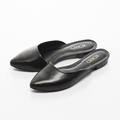 KOKKO-經典尖頭真皮平底穆勒拖鞋 -實搭黑