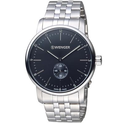 瑞士WENGER Urban 都會系列 經典小秒針紳士腕錶-銀色/42mm