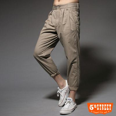 【5th STREET】時尚前線 低檔中直筒哈倫褲-男款(土黃色)