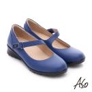 A.S.O 挺麗氣墊鞋 全真皮魔鬼氈奈米休閒鞋 藍