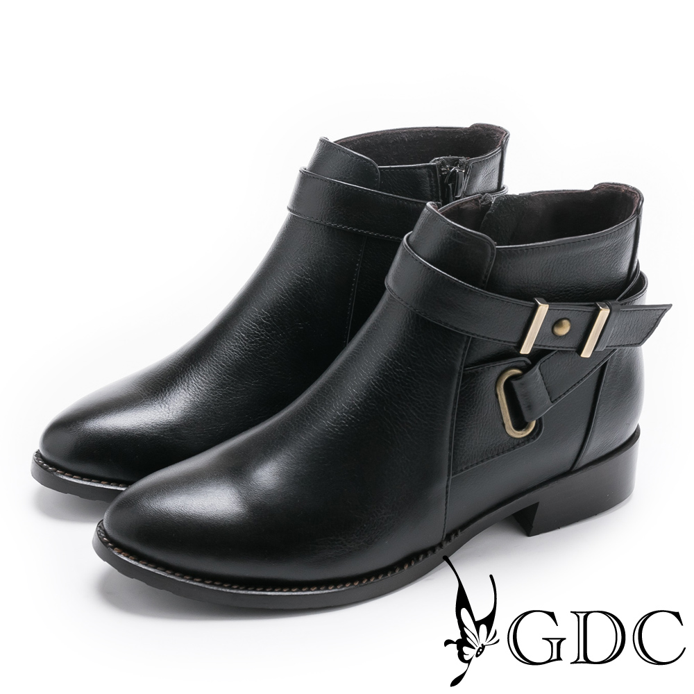 GDC-交叉小巴黎知性基本真皮短靴-黑色