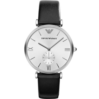 EMPORIO ARMANI Classic 小秒針簡約風時尚腕錶-白/40mm
