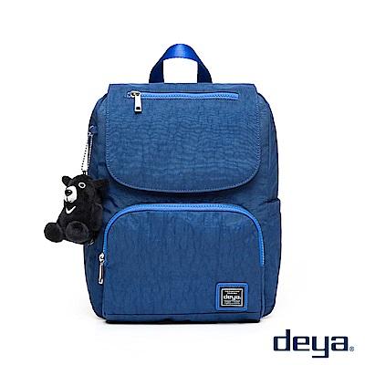 deya 水漾尼龍 輕量繽紛百搭後背包 (附黑熊吊飾) 藍色
