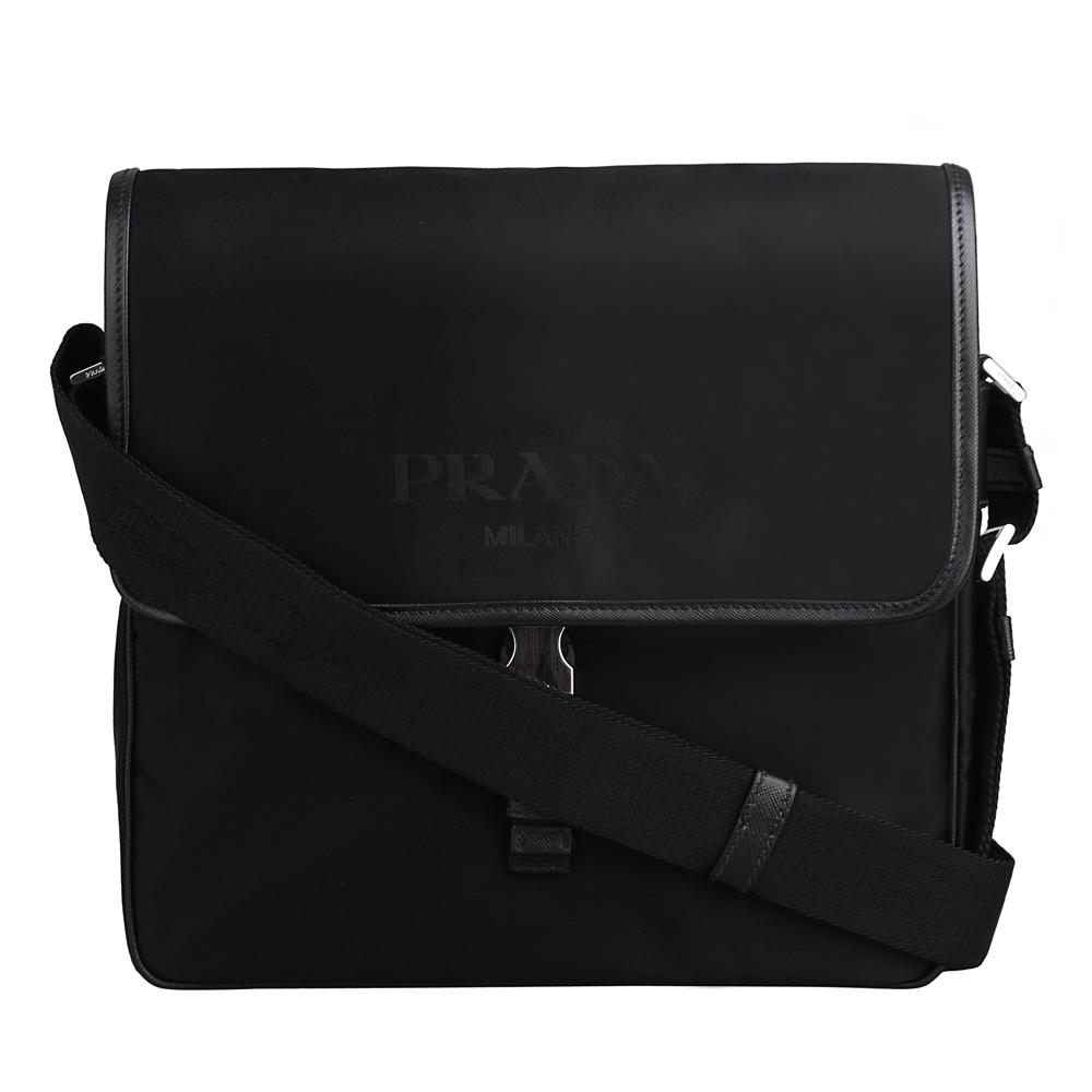 PRADA 經典側三角簡約設計繡字尼龍斜背包(黑)