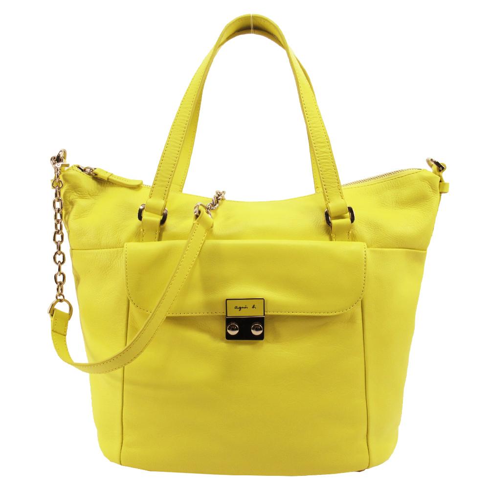 agnes b. 牛角型手提肩背包-亮黃