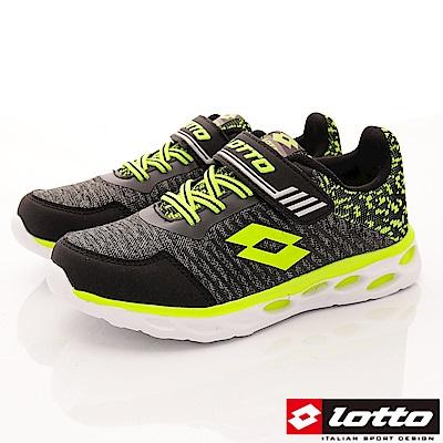 Lotto義大利運動鞋 針織彈力慢跑鞋 SI350 黑 (中大童段)