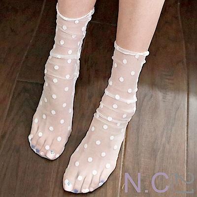 N.C21- 正韓 點點透膚紗網中筒襪 (共二色)