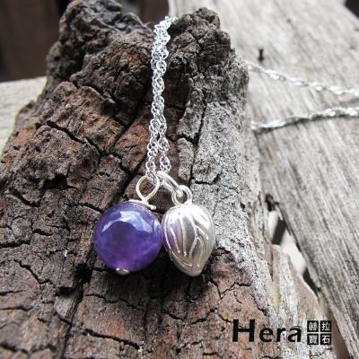 Hera 925純銀手作天然紫水晶花苞項鍊/鎖骨鍊