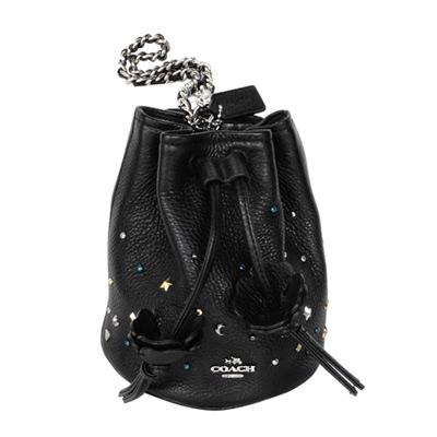 COACH黑色荔枝紋全皮繁星貼飾手提掛水桶包(小)