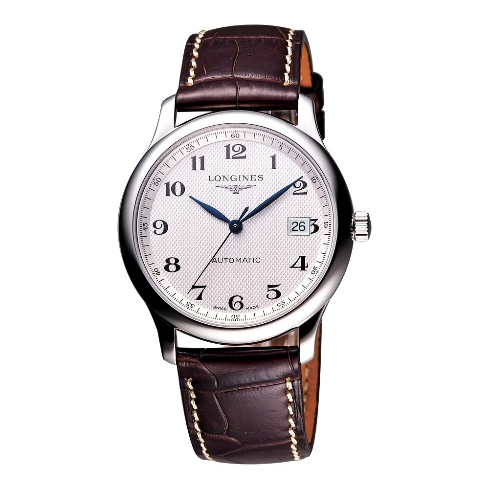 LONGINES Master 巨擘系列機械腕錶-銀x咖啡/40mm L27934783