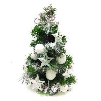 台製1尺(30cm)裝飾綠色聖誕樹(冰雪白系)