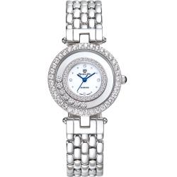 奧林比亞之星 Olympia Star 星空幻影真鑽時尚腕錶-都會白 28019DLW