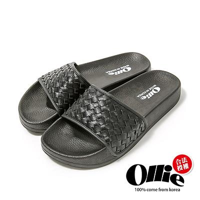 Ollie韓國空運-正韓製皮革素色編織厚底涼鞋-黑