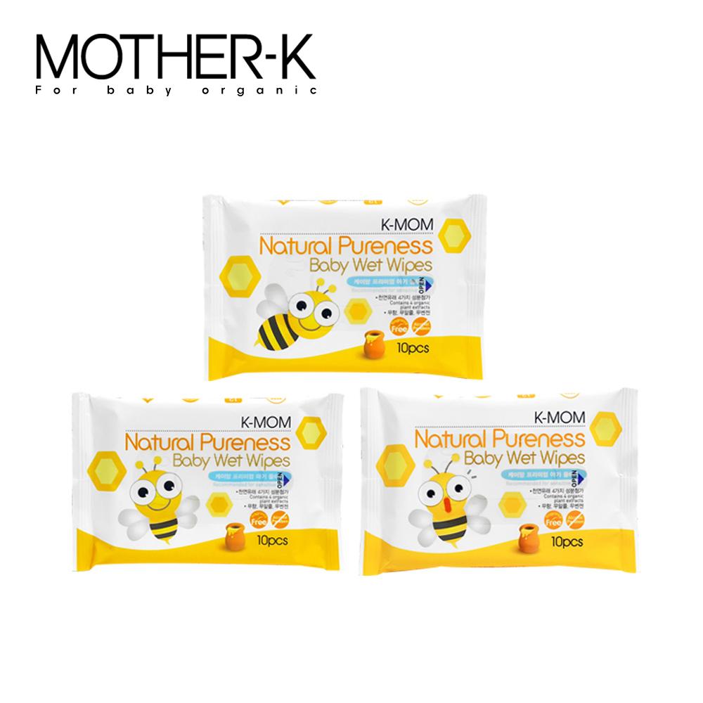 韓國MOTHER-K純淨自然幼兒濕紙巾(10抽/包)-輕巧款(包裝隨機出貨)