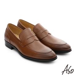 A.S.O 職人通勤 簡約全真皮直套式紳士皮鞋 茶色