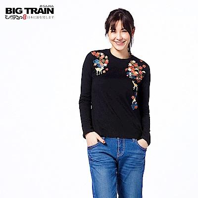 BIG TRAIN 京都小鹿圓領長袖-女-黑色