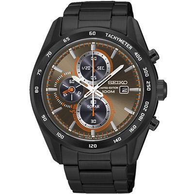 SEIKO Criteria 太陽能戰神計時腕錶(SSC415P1)-鍍黑x咖啡/43mm