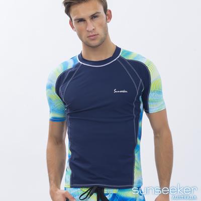 澳洲Sunseeker時尚男士衝浪短袖上衣-水紋深藍