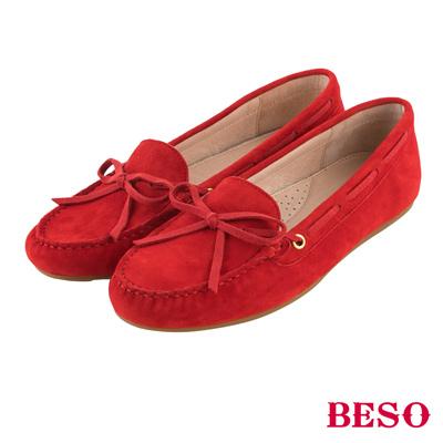 BESO繽紛奇幻 經典都會蝴蝶結全真皮莫卡辛鞋~紅