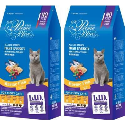 LCB藍帶廚坊 L.I.D.挑嘴貓糧 高能貓 1.2KGx2包 海洋魚配方