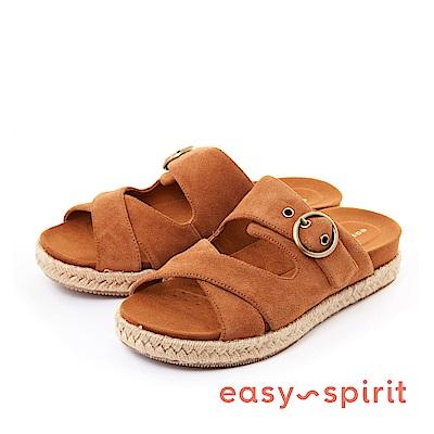 Easy Spirit--麂皮寬版交叉草編厚底涼鞋-時髦咖