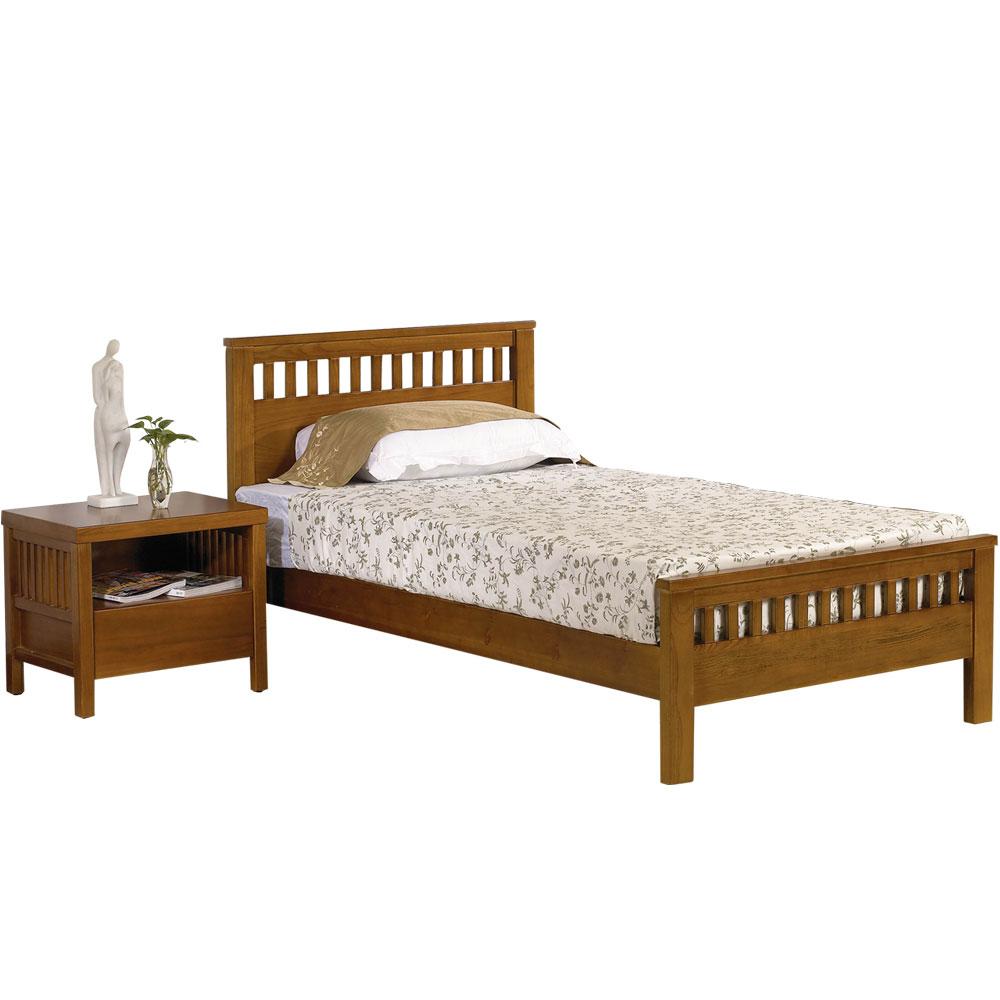 群居空間 安道爾斯3.5尺單人實木床組(床架+床頭櫃)