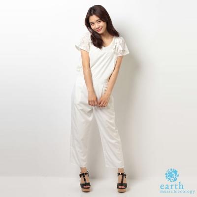 earth music&ecology 素色蝴蝶結綁帶連身褲