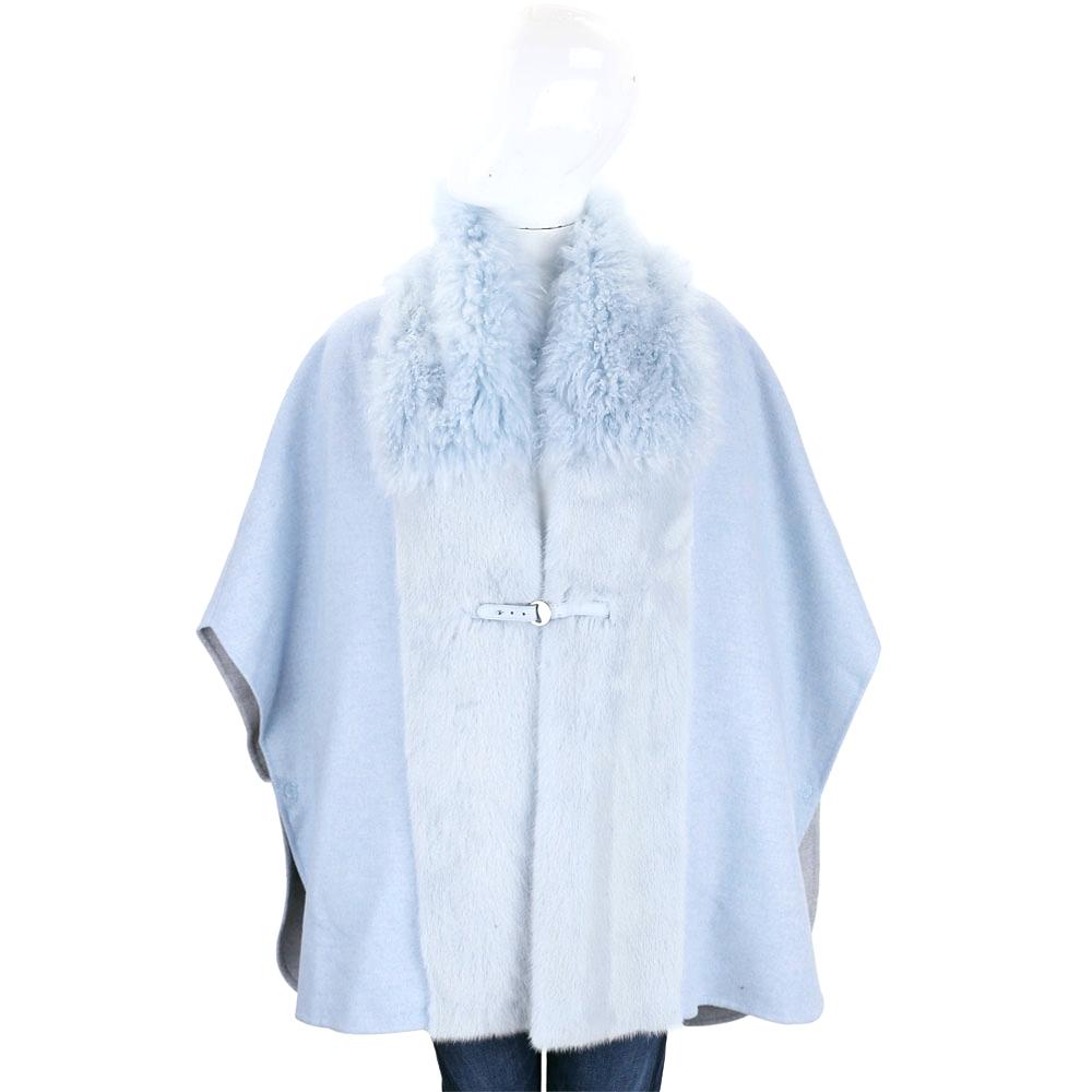 Manzoni 24 水藍色拼接皮草羊毛罩衫(70%WOOL)