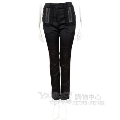 Lie Sang Bong 黑色蕾絲拼接緞面款長褲
