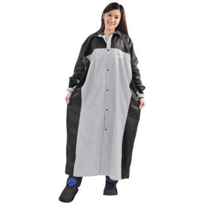 JUMP 將門 精緻反光前開連身型休閒風雨衣(2XL~4XL)(銀灰/黑)